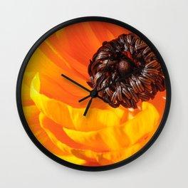 Orange Poppy, Stigma and Anther Wall Clock