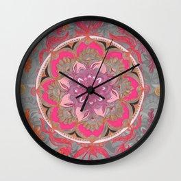 Hot Pink, Magenta and Orange Super Boho Medallions Wall Clock