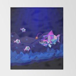 Anglerfish, lie and bioluminescence Throw Blanket