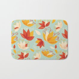 Whimsical Abstract Colorful Lily Flower Pattern Bath Mat