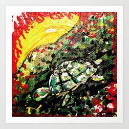 Sunset turtle Art Print