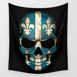 Dark Skull with Flag of Quebec Wall Tapestry