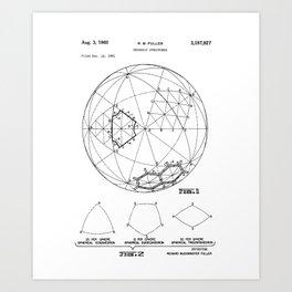 Buckminster Fuller 1961 Geodesic Structures Patent Art Print