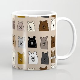 Bear Portraits on Brown Coffee Mug