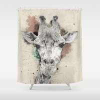 giraffe Shower Curtains featuring giraffe by Narek Gyulumyan