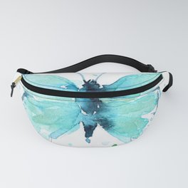 Blue Abstract Butterfly Fanny Pack