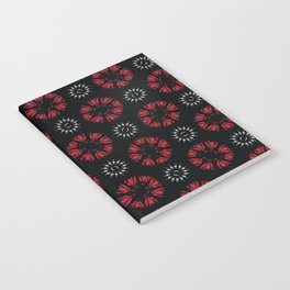 Black Bohemian Retro Floral Vector Pattern Seamless, Hand Drawn Stylized Notebook