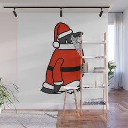 Cute penguin dressed in a Santa suit, Santa hat and white beard Wall Mural