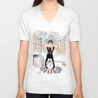 shoe V-neck T-shirts featuring Shoe Boutique by Sonya Parra