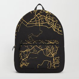 SINGAPORE GOLD ON BLACK CITY MAP Backpack
