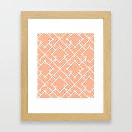 Bamboo Chinoiserie Lattice in Peach + White Framed Art Print