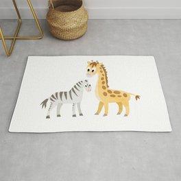 Safari Baby Zebra and Giraffe Rug