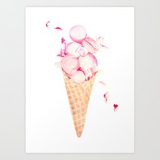Macaroons Ice Cream Art Print