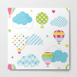 Colorful Clouds and Hot Air Balloons Metal Print