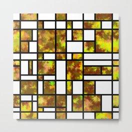 Modern Art Autumn Style Grid Pattern Metal Print