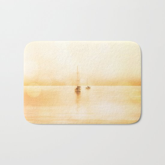 Bahama Sunset lonely sail boats Bath Mat