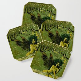 Vintage Parisian Green Fairy Absinthe Alcoholic Aperitif Advertisement Poster Coaster