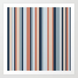 Stripe Pattern in Blue, Coral, and Putty Art Print