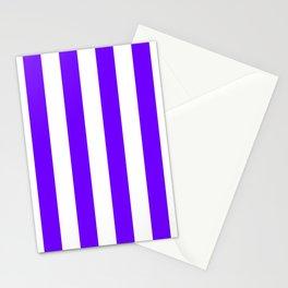 Vertical Stripes - White and Indigo Violet Stationery Cards