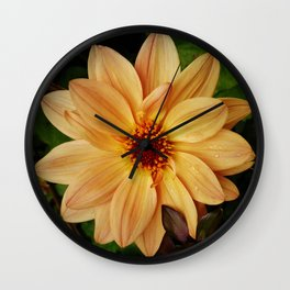 EVERYTHING IS JUST PEACHY DAHLIA FLOWER Wall Clock