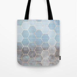 honeycomb winter forest // copper & blue Tote Bag