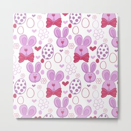 Cute easter pattern with eggs and bunnies Metal Print