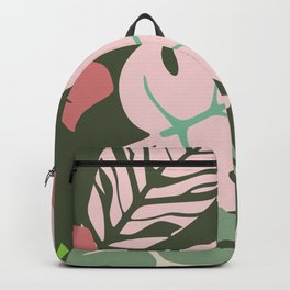 Tropical leaves green and pink paradises Backpack