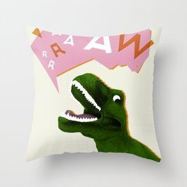 Dinosaur Raw! Throw Pillow