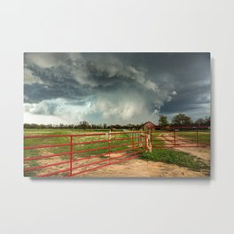 The Red Gates - Storm Passes By Farm in Kansas Metal Print