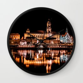 Dresden, Germany City Lights on the Saxony River Panorama Wall Clock