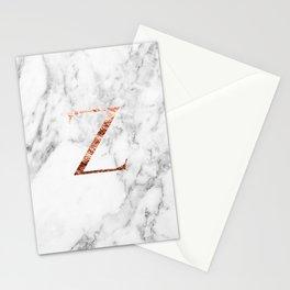 Monogram rose gold marble Z Stationery Cards