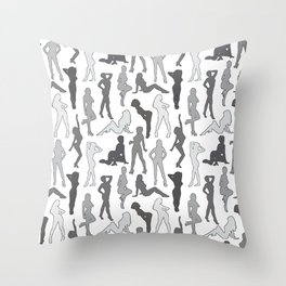 Femmes in Gris Throw Pillow