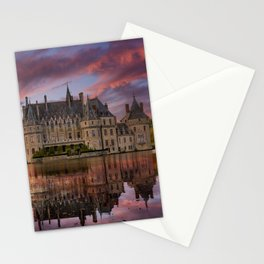 French Castle chateau on sunset with water reflection Stationery Cards