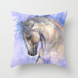 Horse on purple background Throw Pillow