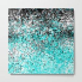 Aqua Gray Pixels Metal Print