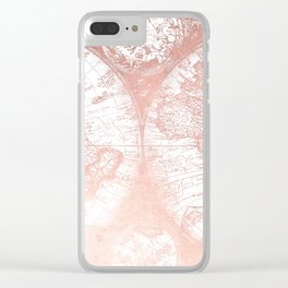 Rose Gold Pink Antique World Map by Nature Magick Clear iPhone Case