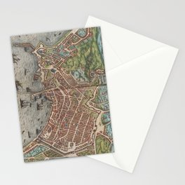 Vintage Map of Naples Italy (1572) Stationery Cards