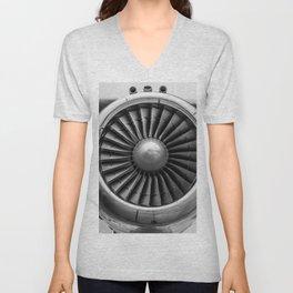 Vintage Airplane Turbine Engine Black and White Photographic Print Unisex V-Neck