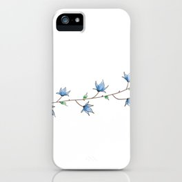 abstract Little blue bell flowers watercolor iPhone Case