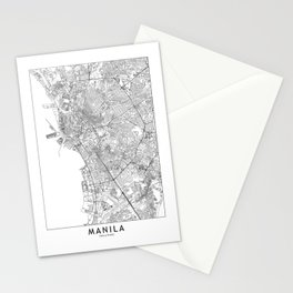 Manila White Map Stationery Cards