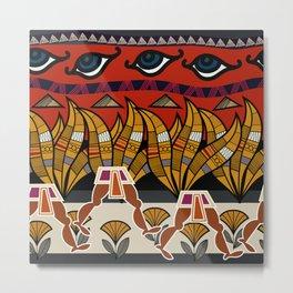 Walking Egyptian Pattern Metal Print