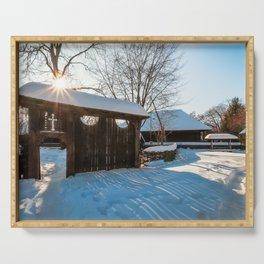 Sun star in a Romanian Village in winter Serving Tray