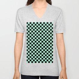 Black and Magic Mint Green Checkerboard Unisex V-Neck
