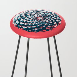 pine cone pattern in coral, aqua and indigo Counter Stool