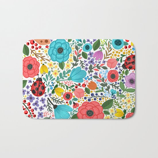 Colorful Vintage Spring Flowers Bath Mat