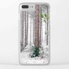 Snowy Pine trees Clear iPhone Case
