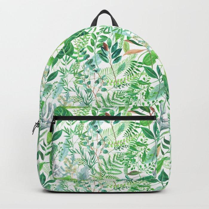 greenery watercolor pattern Backpack