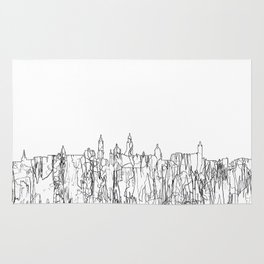 Glasgow, Scotland UK Skyline B&W - Thin Line Rug