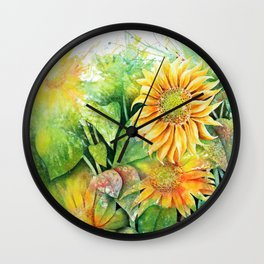 Colorful Sunflowers Wall Clock
