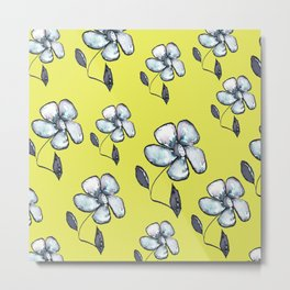 Modern Floral - Yellow Background Metal Print